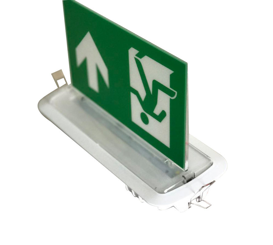 Grafis Dua Sisi LED Aluminium Exit Sign Ceiling Embedded Emergency Running Man